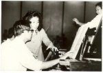 Jingjing with the pianist at the rehersal of 'piano and orchestra'